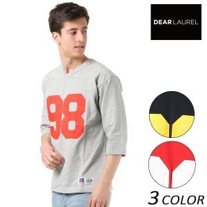 SALE セール メンズ 5分袖 Tシャツ DEAR LAUREL ディアローレル × RUSSELL ATHLETIC ラッセル アスレチック D18S2201 FF1 B14|murasaki