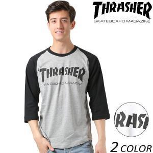 メンズ 七分袖 Tシャツ THRASHER スラッシャー LOGO MAG LOGO TH8201 FF1 B28|murasaki