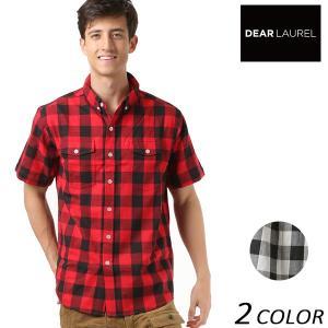 SALE セール メンズ 半袖 シャツ DEAR LAUREL ディアローレル D18S2401 カジュアル チェック柄 FF1 D3|murasaki