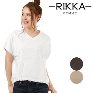 レディース トップス 半袖 Tシャツ RIKKA FEMME リッカファム R18S2104 Vネック フリンジ FF1 E28|murasaki