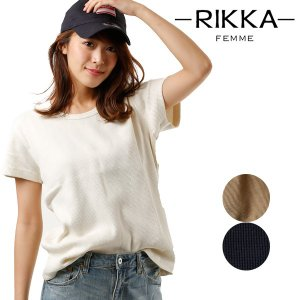 SALE セール レディース トップス 半袖 Tシャツ RIKKA FEMME リッカファム R18S2105 ワッフル 春 夏 FF1 E28|murasaki