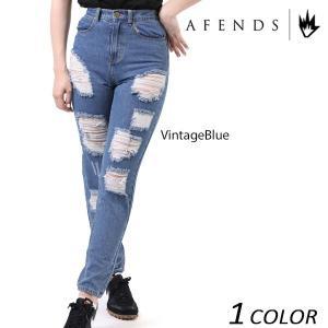 レディース ロング パンツ AFENDS アフェンズ Ripped Luckies-Vintage Blue-High Waist Slim Jeans 53-02-017 EE1 C14|murasaki