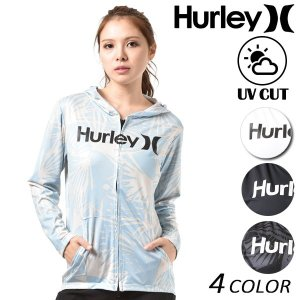 【Hurley】ハーレーのレディースラッシュガード。 着脱が楽々なジップアップパーカータイプのラッシ...