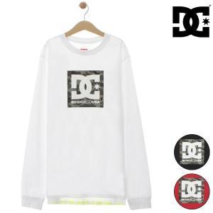 【DC】ディーシーのキッズ長袖Tシャツ。 スクエア型のDCマークを配した長袖プルオーバーです。 前後...