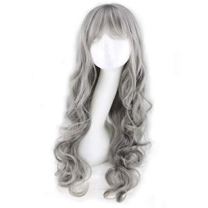 ウィッグ セミロング・カール・前髪付き・シルバー ゆめロリータ コスプレ用 自然 小顔