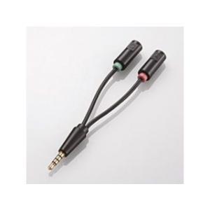 ELECOM/エレコム  3極φ3.5mmステレオミニプラグメス×2-4極プラグオス変換コネクタ AV-35AD02BK|murauchi3