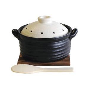 萬古焼  ★★★萬古焼 IH炊飯鍋 ドットホワイト 敷板・しゃもじ付   S0038|murauchi