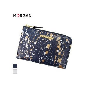 MORGAN/モルガン  MR4001 飛沫模様 レザー ラウンドファスナーウォレット 財布 (ネイビー)|murauchi