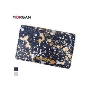 MORGAN/モルガン  MR4002 飛沫模様 レザー 2つ折り ウォレット 財布 (ネイビー)|murauchi