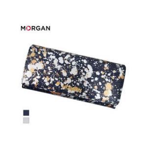 MORGAN/モルガン  MR4003 飛沫模様 レザー 2つ折り ロングウォレット 長財布 (ネイビー)|murauchi