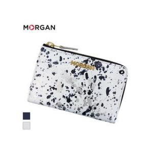 MORGAN/モルガン  MR4001 飛沫模様 レザー ラウンドファスナーウォレット 財布 (ホワイト)|murauchi