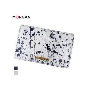 MORGAN/モルガン  MR4002 飛沫模様 レザー 2つ折り ウォレット 財布(ホワイト)|murauchi