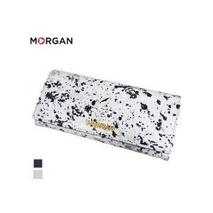 MORGAN/モルガン  MR4003 飛沫模様 レザー 2つ折り ロングウォレット 長財布 (ホワイト)|murauchi