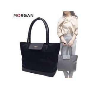 MORGAN/モルガン  MOC04 ナイロン × フェイクレザー トートバッグ (ブラック)|murauchi