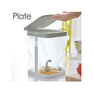 YAMAZAKI/山崎実業  【Plate/プレート】蓋付きポリ袋エコホルダー ホワイト|murauchi