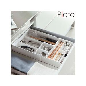 YAMAZAKI/山崎実業  【Plate/プレート】伸縮&スライド カトラリートレー ホワイト|murauchi