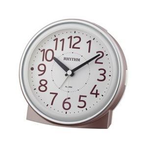 RHYTHM/リズム時計  8RE663SR13 【ピュアライトR663】 目覚まし時計 ピンクゴールド(白)/クオーツ連続秒針 murauchi