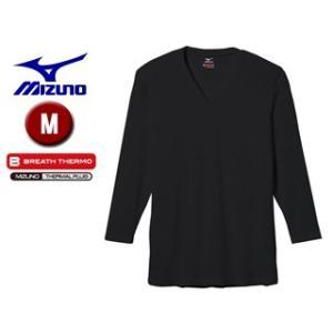 【nightsale】 mizuno/ミズノ  C2JA5601-09 ブレスサーモエブリ Vネック長袖シャツ 【M】 (ブラック)