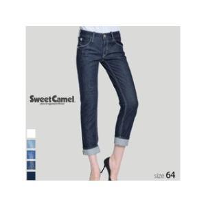 Sweet Camel/スウィートキャメル  レディース ロールアップストレート デニム パンツ (W4 ワンウォッシュ/サイズ64) SA-9312|murauchi