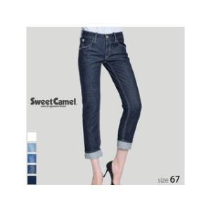 Sweet Camel/スウィートキャメル  レディース ロールアップストレート デニム パンツ (W4 ワンウォッシュ/サイズ67) SA-9312|murauchi