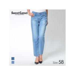 Sweet Camel/スウィートキャメル  レディース 柔らかデニム ボーイズテーパードパンツ (S5=中色USED/サイズ58)|murauchi