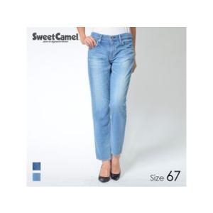 Sweet Camel/スウィートキャメル  レディース 柔らかデニム ボーイズテーパードパンツ (S5=中色USED/サイズ67)|murauchi