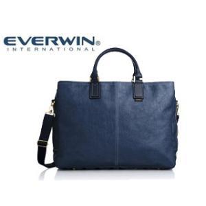 EVERWIN/エバウィン  21597 ジェノバ メンズ 日本製 合皮 ショルダー 2way ビジネスバッグ (ネイビー)|murauchi
