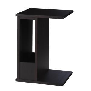 サイドテーブル コーヒーテーブル ミニテーブル 木製 コの字 トーレ DB ダークブラウン 縦でも横でも使えるテーブル|murauchikagu|02