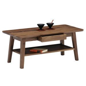 センターテーブル おしゃれ 北欧 引き出し 木製 ウォールナット ブルーノ 95 リビングテーブル|murauchikagu