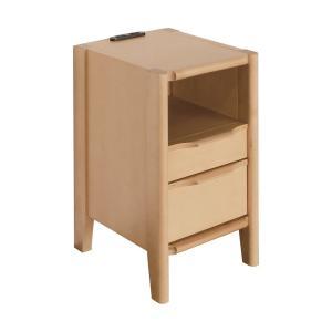 ナイトテーブル コンセント付 引き出し 木製 おしゃれ バロー 30-2 NA/ナチュラル ベッドサイドテーブル murauchikagu