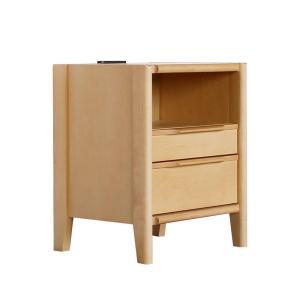 ナイトテーブル コンセント付 引き出し 木製 おしゃれ バロー 40-2 NA/ナチュラル ベッドサイドテーブル murauchikagu