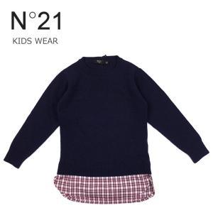 子供服 セーター ニット チュニック 3万7800 ヌメロヴェントゥーノ N°21 キッズ チェック柄 長袖 トップス ネイビー 32 34 36 38 あすつく|museum8