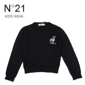子供服 セーター ニット 3万6720 ヌメロヴェントゥーノ N°21 キッズ ブローチつき 長袖 トップス ブラック 30 32 あすつく|museum8