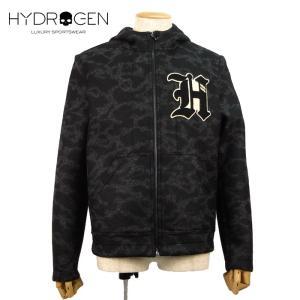 HYDROGEN ハイドロゲン ジップアップジャケット 迷彩 7万9920 メンズ フード ウール アウター ブランド 秋冬 ブラック/カモフラ 46 48 あすつく museum8