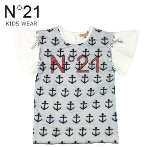 キッズ N°21 Tシャツ マリン イカリ フリル カットソー 2万7000 ジュニア ガールズ ロゴ 半袖 綿 トップス ホワイト系 32 ヌメロヴェントゥーノ あすつく|museum8