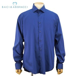 シャツ ドレスシャツ 1万3824 メンズ 無地 カッターシャツ 長袖 トップス 秋冬 ブランド ネイビー XXL あすつく バッチ&アバラッチ BACI&ABBRACCI|museum8