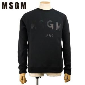 MSGM エムエスジーエム トレーナー スウェットTシャツ 2540MM104 2万7000 メンズ ロゴ トップス 裏起毛 ブランド ブラック S M L あすつく|museum8