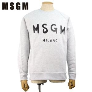 MSGM エムエスジーエム トレーナー スウェットTシャツ 2540MM104 2万7000 メンズ ロゴ トップス 裏起毛 ブランド ライトグレー S M あすつく|museum8