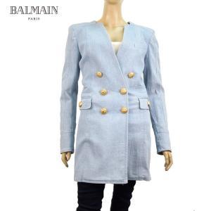 BALMAIN バルマン フェイクジャケット ワンピース 26万4600 レディース アウター ブランド 春夏 ライトブルー 34 36 あすつく|museum8