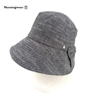マンシングウエア レディース 帽子 ハット UV対策 UVカット キャペリン Munsingwear ツバ広 リボン 麻 ブランド 春夏 グレー 57 あすつく メール便|museum8