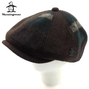 マンシングウエア MUNSINGWEAR ハンチング ベレー帽 帽子 ハット 6804 メンズ ワンポイント 柄 ウール ブランド 秋冬 ブラウン系 58 あすつく|museum8