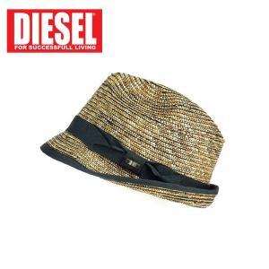ストローハット 中折れハット ディーゼル DIESEL リボン メンズ 麦わら帽子 ストロー インポート 春夏 ベージュ系 2 3 1万7064 あすつく