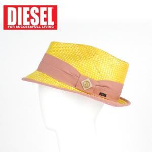 ストローハット 中折れハット ディーゼル DIESEL リボン レディース 麦わら帽子 ストロー インポート イエロー 2 3 1万7064 あすつく|museum8