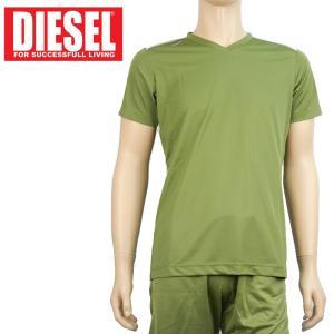 Tシャツ Vネック スポーツウエア メンズ ディーゼル DIESEL アンダーウエア インポート 7020 S カーキ あすつく メール便|museum8