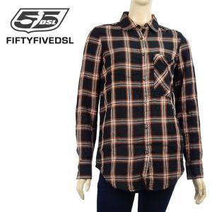 チェックシャツ 背中開き 55DSL DIESEL ディーゼル レディース 長袖 綿 トップス インポート ブラック/オレンジ XXS XS 1万4904 あすつく|museum8