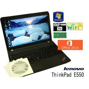 送料無料 3か月保証 中古ノートパソコン lenovo ThinkPad E550 15.6型W Windows7 Celeron 4GB 500GB DVD/RW MS-Office2016 RNT585m mushinet