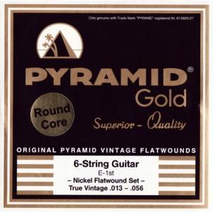《メール便/代引不可》PYRAMID (ピラミッド) Gold Electric Guitar Chrome Nickel Flat Wound Strings True Vintage Round Coreギター弦 music-exp