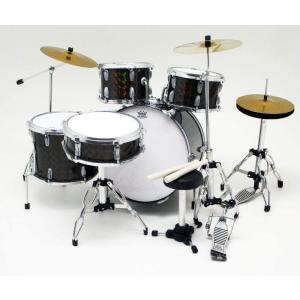 Musical Story ミニチュア ドラム フィギュア 楽器 模型 ブラック デカール付きの画像