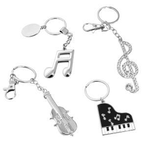ミュージック キーホルダー お得な2個セット ピアノ バイオリン ト音記号 16分音符 musicoffice