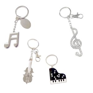 ミュージック キーホルダー 送料無料 お得な4個セット ピアノ バイオリン ト音記号 16分音符|musicoffice